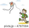 少年 凧揚げ 男子のイラスト 4787084