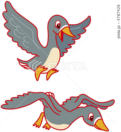 動植物 鳥 カモのイラスト素材 4787426 Pixta