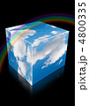 cloud sky cube with reflection and rainbow on black collage 4800335