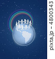 Roughly cut out paper people circle on globe with rainbow on blu 4800343