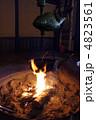 焚き木 炎 火鉢の写真 4823561