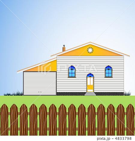 house with yardのイラスト素材 4833798 pixta