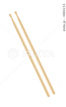 Two wooden drumsticks isolated on white backgroundの写真素材 [4860233] - PIXTA