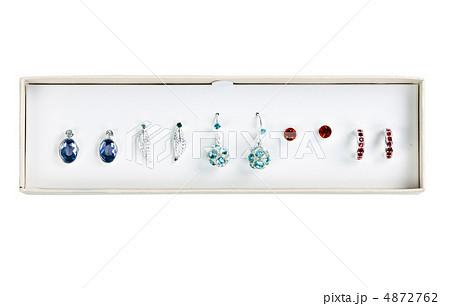 five pairs of earrings with stonesの写真素材 [4872762] - PIXTA