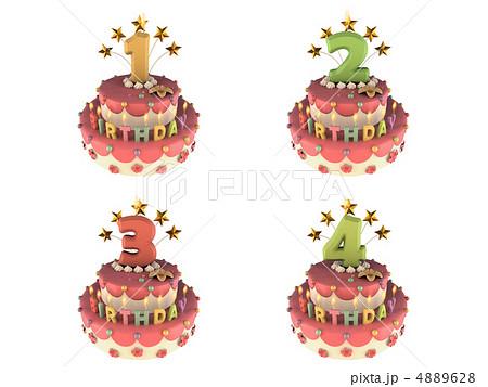 ろうそく・数字付き 誕生日ケーキ1~4 4889628