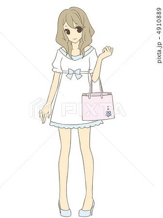 ショッピング 女の子のイラスト素材