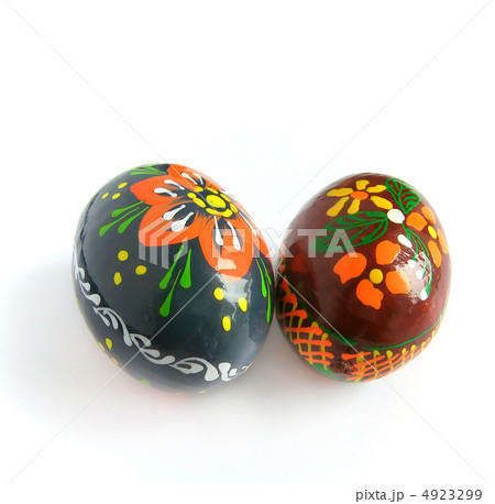 two easter painted eggの写真素材 [4923299] - PIXTA