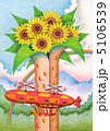 飛行船 塔 花のイラスト 5106539