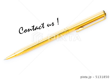 Pen and contact us message on whiteの写真素材 [5131850] - PIXTA
