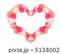 ハート型 花飾り フラワーリースのイラスト 5138002