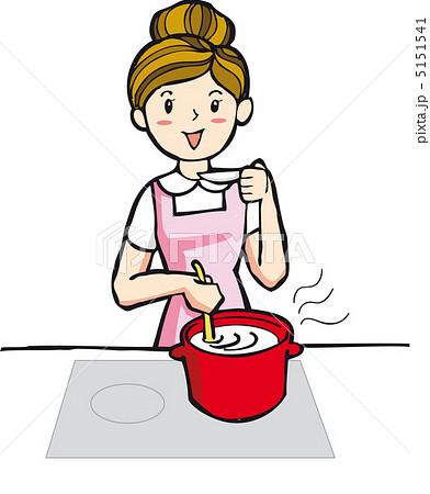料理する主婦のイラスト素材 5151541 Pixta