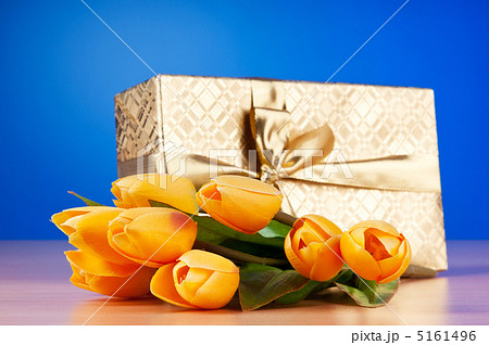 Celebration concept - gift box and tulip flowersの写真素材 [5161496] - PIXTA