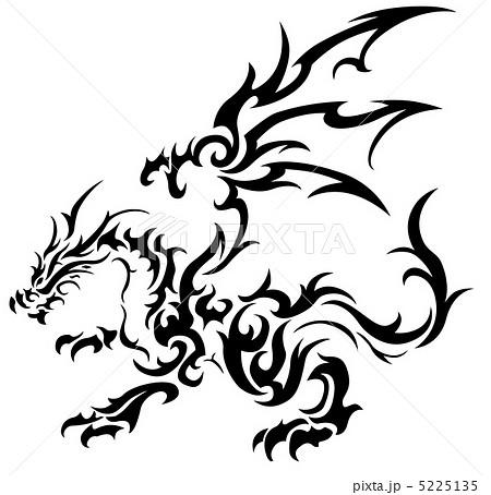 ドラゴンのトライバル7(モノクロ,白)