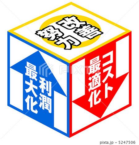 イラスト素材: 改善努力(キューブ)-1