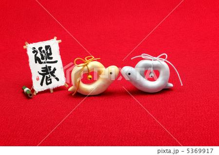 かわいい蛇 巳年年賀状素材 見つめ合うハートの夫婦へび 5369917