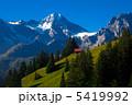スイス・大自然・赤い小屋・山脈 5419992