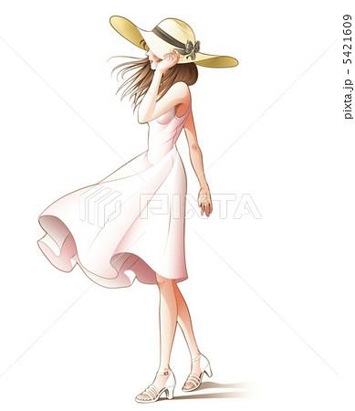 風に舞うスカートその2のイラスト素材 5421609 Pixta