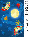 十五夜 満月 扇 紅葉 5492144