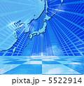 青空の東アジア・日本周辺地図とビル街の風景 5522914