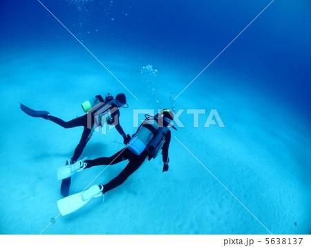 砂地の上を泳ぐ二人のダイバー 5638137