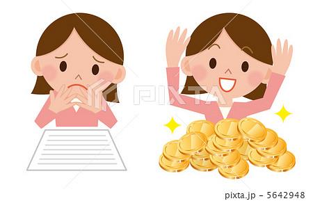 悩む女性/お金で喜ぶ女性 5642948