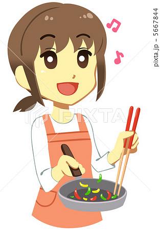 料理する女性のイラスト素材 5667844 Pixta