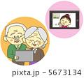 祖父母 テレビ電話 高齢者のイラスト 5673134