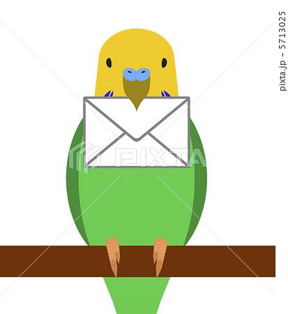 手紙を届けるインコのイラスト素...