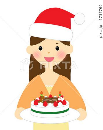 クリスマスケーキを持つ女性 5757760