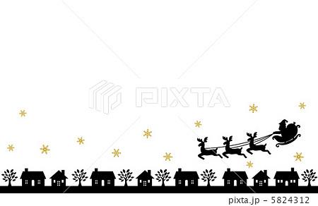 黒いさんたシルエット街並みのイラスト素材 5824312 Pixta