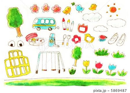 幼稚園保育園グッズのイラスト素材 5869487 Pixta