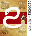 白ヘビ 白蛇 巳のイラスト 5920020
