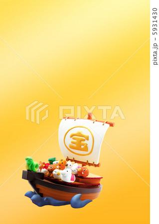 宝船と巳年の可愛い十二支 年賀2013 5931430