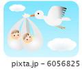 双子の赤ちゃんとコウノトリ 6056825
