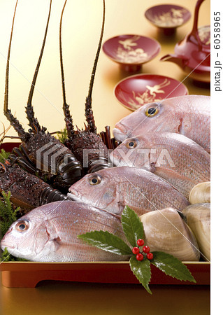 正月イメージ 伊勢海老と鯛と蛤 6058965