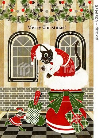 クリスマスカード用イラスト(猫と鼠「靴下発見!」)MERRYCHRISTMAS白線 6089430