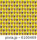 招き猫と門松の繰り返しパターン素材(黄色背景) 6100469