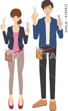 美容師スタイリストの男性と女性のイラスト素材 6180815 Pixta