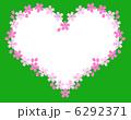 ドットの花びらの桜のハートフレーム 6292371