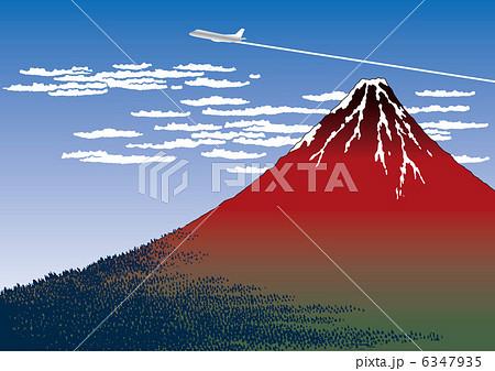 赤富士と飛行機雲 6347935