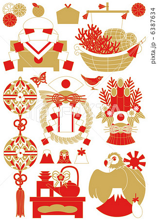 年賀状用イラストカット素材集(鏡餅・宝船・鞠・注連飾り・門松・お屠蘇・一富士二鷹三茄子)赤茶 6387634