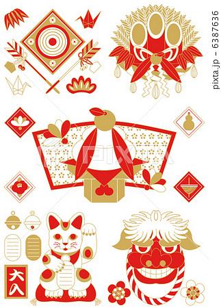 年賀状用イラストカット素材集(破魔矢・門松・鏡餅・招き猫・獅子)赤茶 6387636
