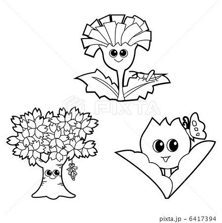 春の花モノクロのイラスト素材 6417394 Pixta