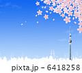 桜吹雪 快晴 東京スカイツリーのイラスト 6418258