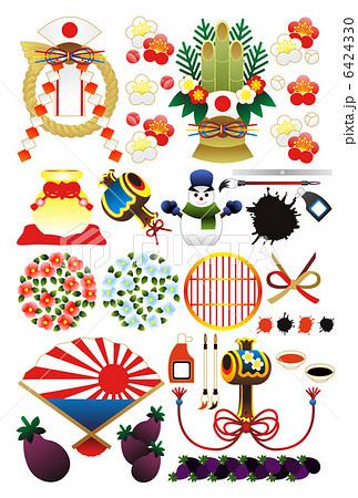年賀状用イラストカット素材集(注連飾り・門松・打ち出の小槌・雪達磨・筆と墨汁・椿・茄子・扇)グラデ 6424330