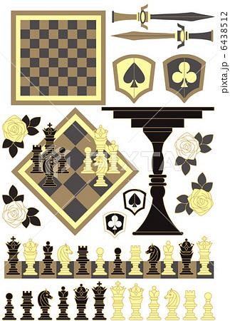 「チェスピースチェスボードチェスセット」イラスト素材集 6438512