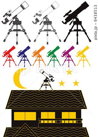 「天体観測/天体望遠鏡/シルエット」イラスト素材集 6438513