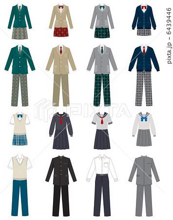 いろいろな制服 学生のイラスト素材 6439446 Pixta