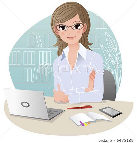 働く女性 オフィス イラストのイラスト素材 6475139 Pixta