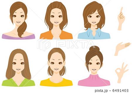 女性 複数 笑顔のイラスト素材 6491403 Pixta